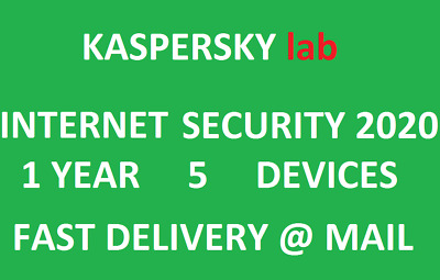 Kaspersky Internet Security 2020/5 Devices/1Year|Worldwide|Delivery via message.