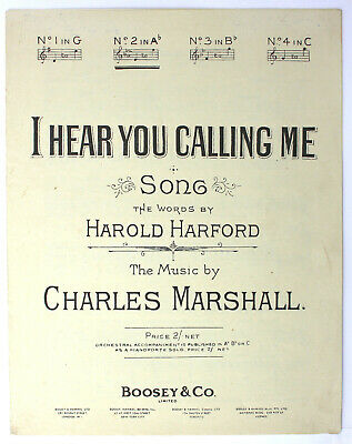 I Hear You Calling Me, Charles Marshall, Song, Sheet Music - UK Shilling