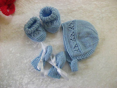 Brand New Hand Knitted Blue Baby Bonnet, Mitten, Booties Set 0-3/3-6/6-9 Months