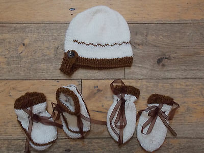 Brand New Hand Knitted Baby Bonnet, Mitten, Booties Set 0-3/ 3-6/ 6-9 Months