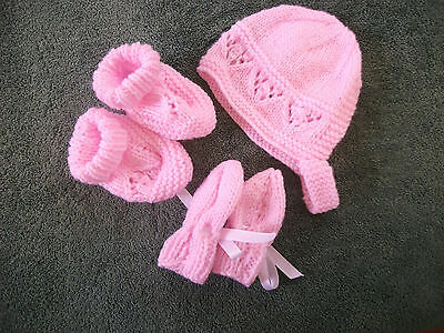 Brand New Hand Knitted Pink Baby Bonnet, Mitten, Booties Set 0-3/3-6/ 6-9 Months