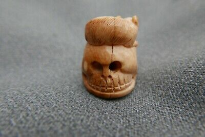 Hand Carved Bone Memento Mori Rat on Skull collectable netsky