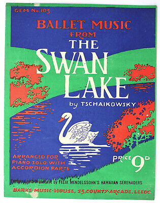 The Swan Lake, Tschaikowsky, arranged pieces for piano solo (15pgs)- UK Shilling