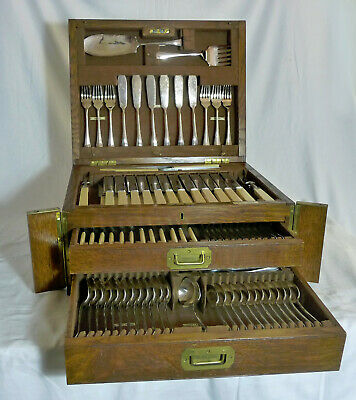 Antique Mappin And Webb Princes Plate 12 Place Boxed Cutlery Canteen Set