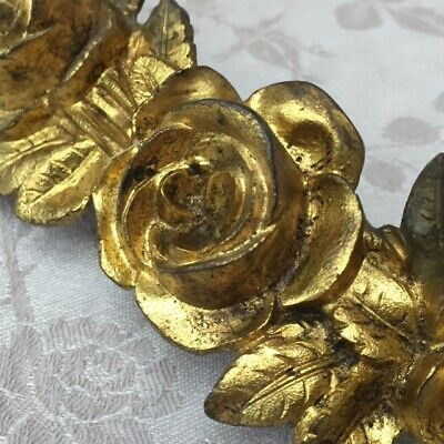 Antique Vtg FRENCH BRONZE ROSE SWAG GARLAND Ornament Architectural Salvaged
