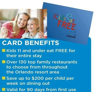 KIDS EAT FREE ORLANDO Dining Discount Card Or ECard ~LOW PRICE~ Official Seller!