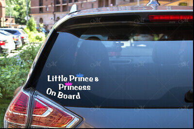 Little Prince and princess on board car sticker decal. baby safety