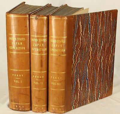 1856 Set 3 LEATHER COMMODORE PERRY JAPAN CHINA EXPEDITION Color Plates US NAVY