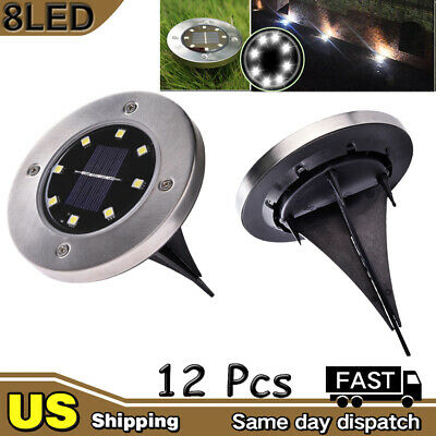 12X  8 LED Solar Disk Lights Ground Buried Garden Lawn Deck Path Cool White IP65