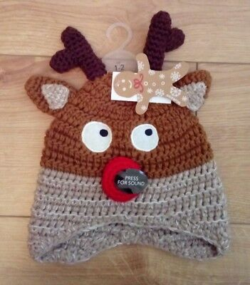 New Baby Bluezoo Reindeer Knitted Trapper Hat /Christmas / Musical age 1-2 Years
