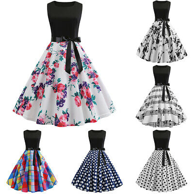 Womens 50s 60s Style Skater Vintage Rockabilly Party Prom Swing Skater Dress