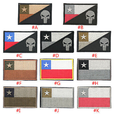 Chile Chilean Flag Punisher Skull 3D Embroidered Morale Badge Hook Loop Patch BS