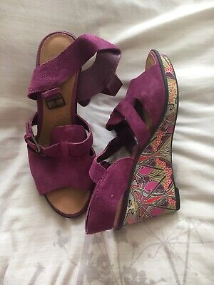 a225cfd591b5 FAT FACE LADIES Purple Weave Wedge Leather Peep Toe Sandals Shoes UK ...