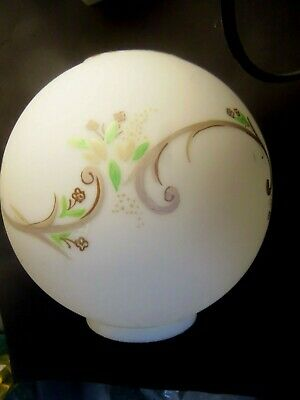 """Vintage Hand-Painted Lamp Banquet Globe Ball Shade Frosted Floral 8"""" Original"""