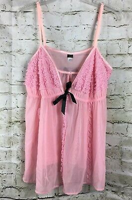 Women's Passion Forever Sz 1x Sheer See Through Pink Teddy Nighty Ruffles F162P