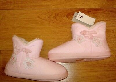 New TU Girls Pink Star Embossed Slipper Boots Size UK 3/4