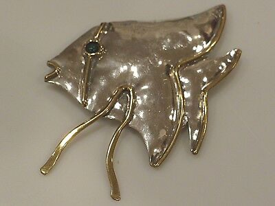Estate Lois Booth Vintage Sterling Silver Brass Fish Pin Brooch