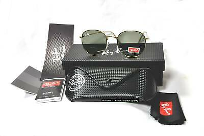 Ray-Ban RB3447 001 Gold/Green  Round Sunglasses 50mm Carbon Tech Box