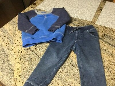 Toddler  Boys Crazy 8 Jeans 18-24M & Jumping Beans Pull Over Fleece Top Size 2T