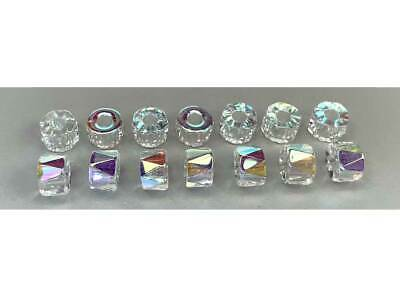 Czech Glass LARGE HOLE Tire Spacer Beads 8x6mm Crystal AB coated 40 pieces, P445