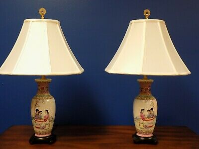 "Pair 25"" Vntg. / Antique Chinese Porcelain  Vase Lamps - Asian Oriental Ceramics"