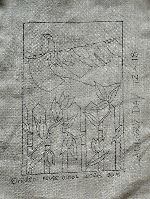 """12"""" x 18"""" Linen Hooked Rug Pattern - """"Laundry Day"""" *PATTERN ONLY*"""