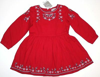 Next- Red Soft Cotton Floral Embroidered Boho Tunic Dress- Girls 18-24 Months