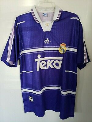 quality design ea9c3 b1a59 RARE VINTAGE 90S Adidas Real Madrid Teka Purple Soccer Football Jersey Mens  L