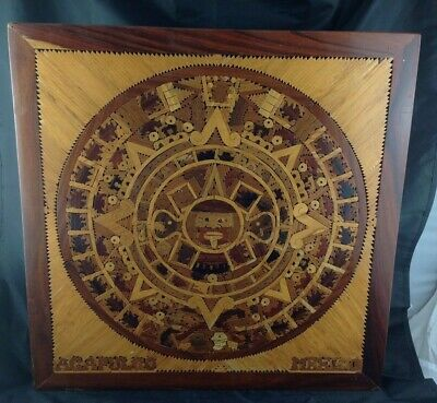 20x20 Aztec Calendar Wood Inlay Wall Sculpture Alphonso Jurado Acapulco Mexico