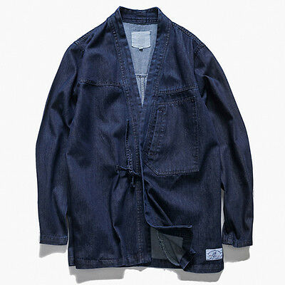Mens Kimono Shirt Denim Jean Japanese Jacket Lace Up Robe Vintage Retro Shop6