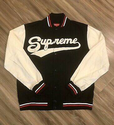 46731f26 VINTAGE SUPREME APPLE NYC logo varsity jacket size L - $189.00 ...