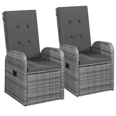 "vidaXL 2x Outdoor Armchairs Poly Rattan 41.3"" Gray Garden Wicker Patio Chairs"