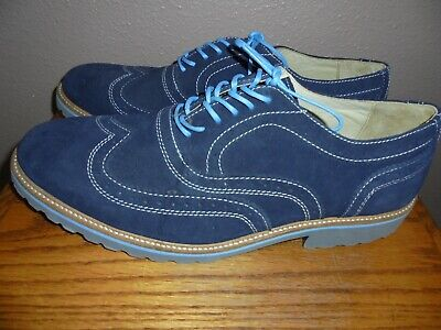 f900ed72a62 NORDSTROM 1901 Men s Blue Suede Lace-up Wingtip Oxford Shoes 12 M Ex  Condition