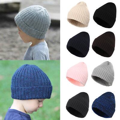 b66d8fb46 KIDS BEANIE HAT Boys Girls Slouch Winter Woolly Ski Childrens Turn ...
