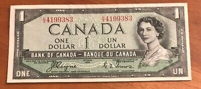1954 Unc Canadian $1 Dollar Bank Of Canada Devils Face Coyne Towers
