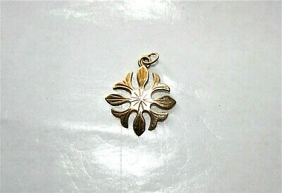 RARE Antique Signed Birmingham WJ&S 9K 375 Yellow Gold Flower Motif Charm