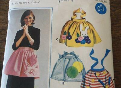 FF Vintage 60s Butterick 3306 Sewing Pattern Aprons Holiday Boutique UC