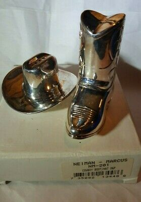 Cowboy Hat and Boot - Neiman Marcus silver plate salt and pepper shakers