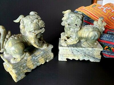 Old Chinese Green Stone Fu / Foo Dog Lions - Feng Shui Chinese Temple Lions …bea