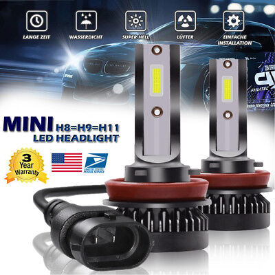 2X Mini H8 H9 H11 CSP LED Headlight Bulb kit 1500W 255000LM Lamp 6000K White Car