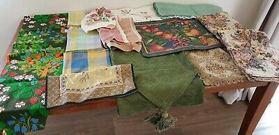 Vintage BULK LOT x 18 Multi-colour TAPESTRY Fabric Table RUNNERs NAPKINS Napery