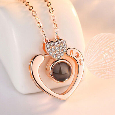 100 Languages Light Projection I Love You Heart Pendant Necklace Lover JewelJB