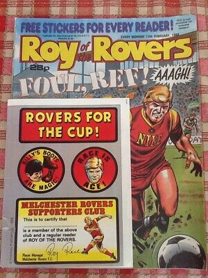 Roy Of The Rovers Comic From 13/2/1988 With The  Original 8 Free Stickers!!