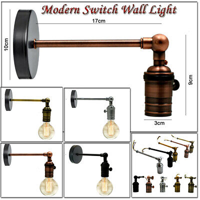 Vintage Retro Industrial Loft Rustic E27 Wall Sconce Porch Switch Lights Lamp UK