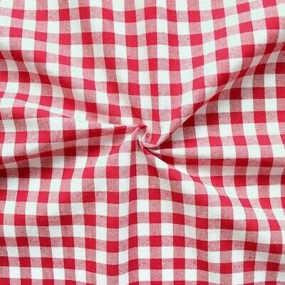 RED WHITE 100% cotton GINGHAM 1cm check fabric 140 cm wide