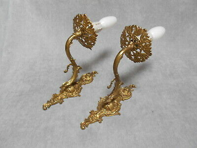 PAIR French ANTIQUE brass WALL Light SCONCES fixtures