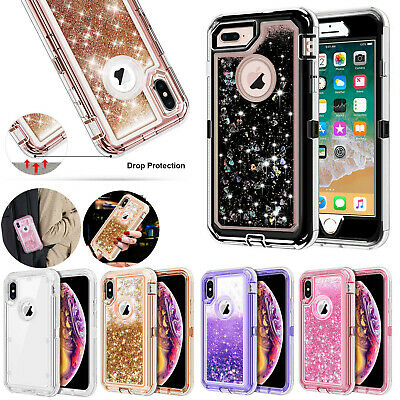 360°Liquid Glitter Bling Heavy Duty Defender Case Cover For iPhone XS MAX/S10e