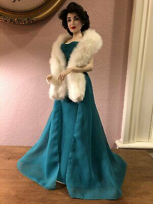 Franklin Heirloom - Elizabeth Liz Taylor - Emerald Green Gown - Porcelain Doll
