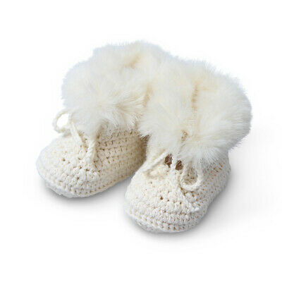 NEW DLUX Baby Pookie Cotton Faux Fur Bootees Ivory