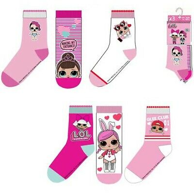 3 Pairs Girls Kids Children LOL Surprise Socks Size UK 6-2 EU 23-34